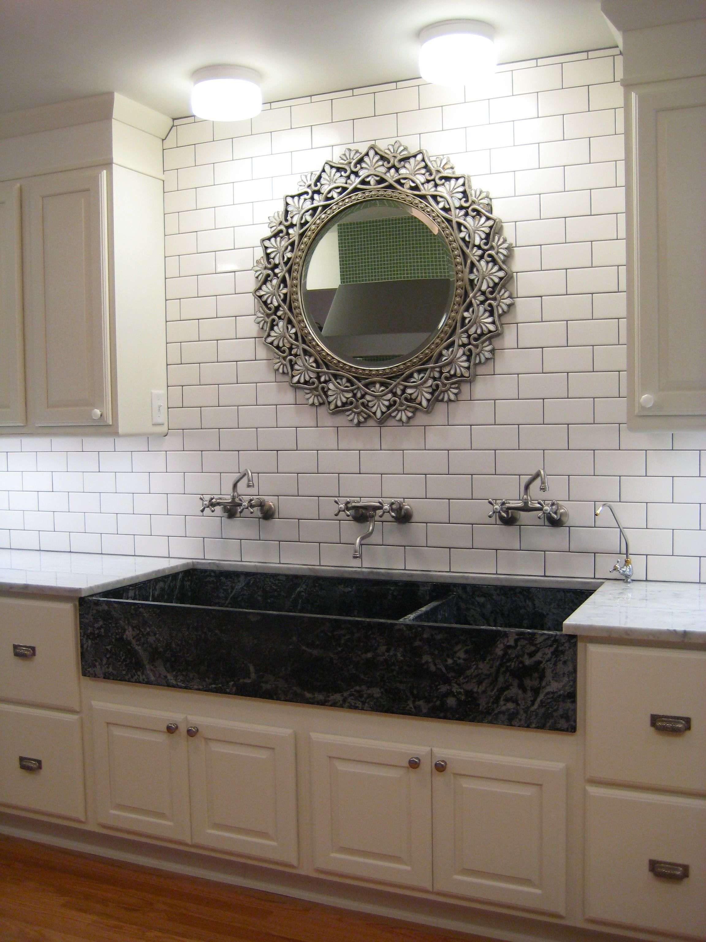 mixed design white ceramic porcelain tile backsplash   Kitchen ...