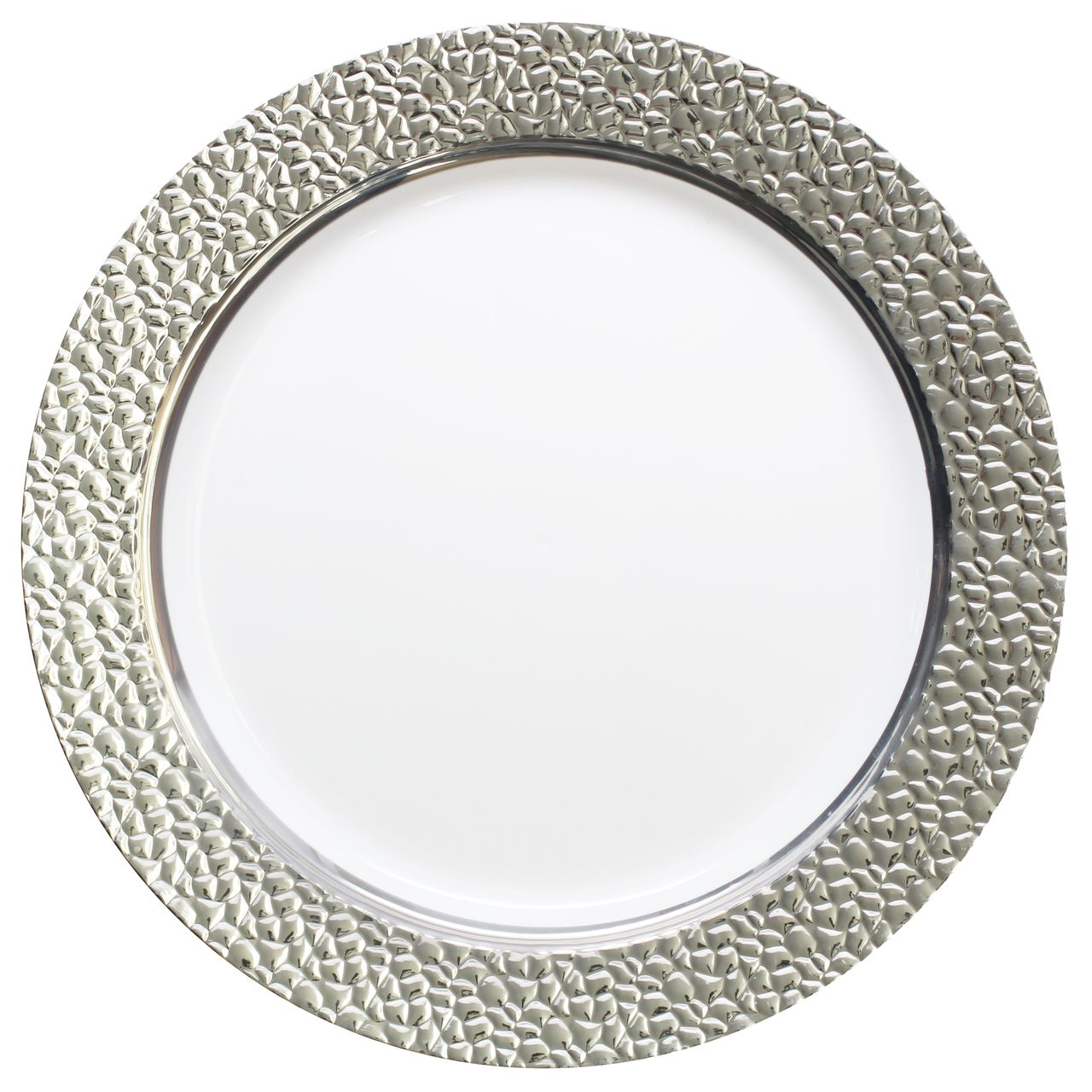 Posh Party Supplies - 10.25\  Hammered White and Silver Plastic Plates $8.67 (  sc 1 st  Pinterest & 10.25\