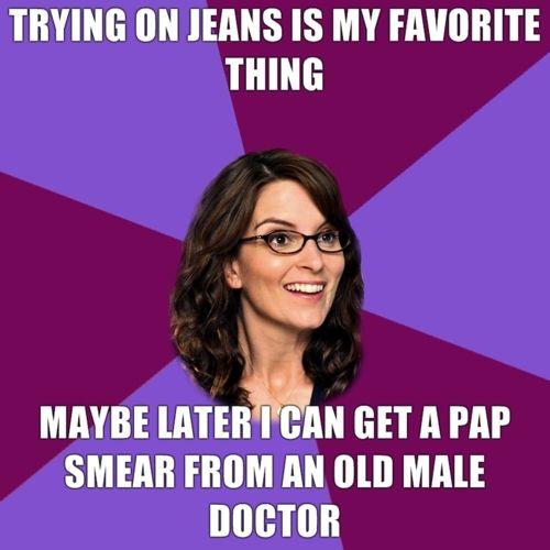 Liz Lemon tries on jeans.
