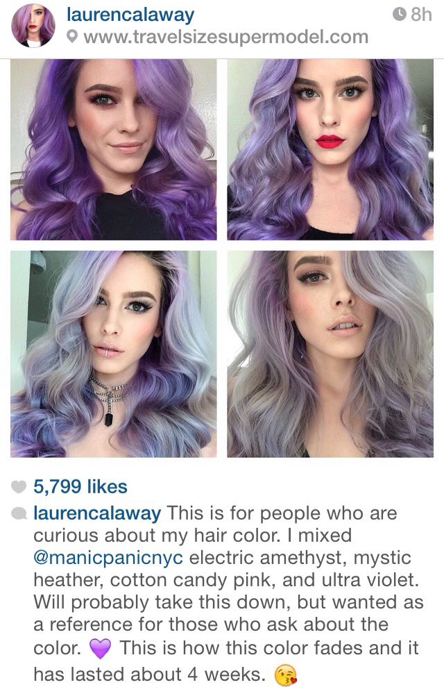 Purple Mermaid Hair Color Naturally Fading To A Pastel Violet And Silver Grey Gray Curls Curled Styled Dye Mermaid Hair Color Hair Color Pastel Mermaid Hair