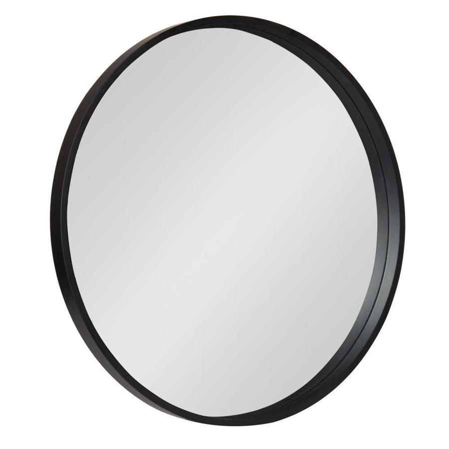 Kate And Laurel Travis 25 6 In L X 25 6 In W Round Black Framed Wall Mirror Lowes Com In 2020 Framed Mirror Wall Black Round Mirror Frames On Wall