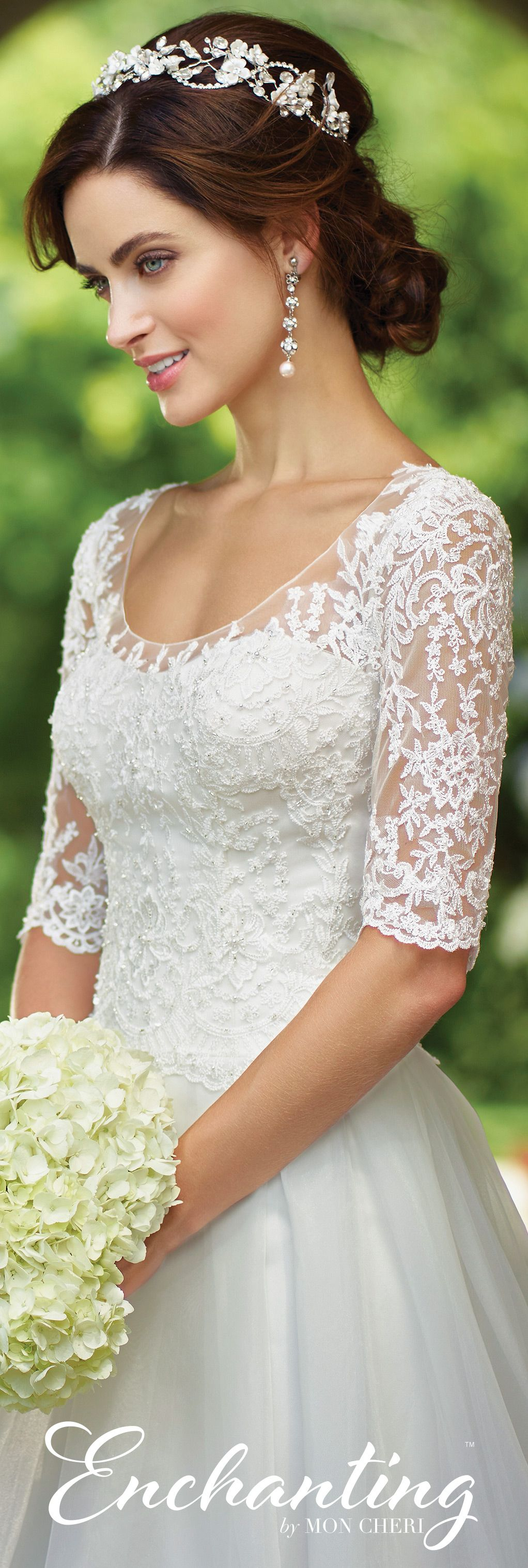Organza aline wedding dress enchanting by mon cheri