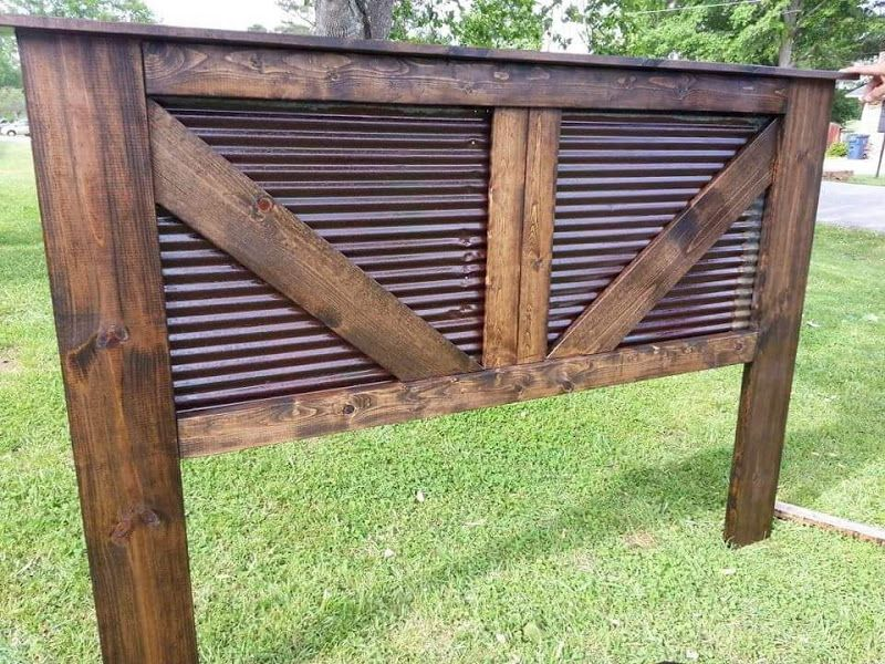 King Size Barn Headboard My Husband And I Made With Tin From An Old Barn Reclaimed Wood Headboard Old Barn Wood Barn Wood Projects