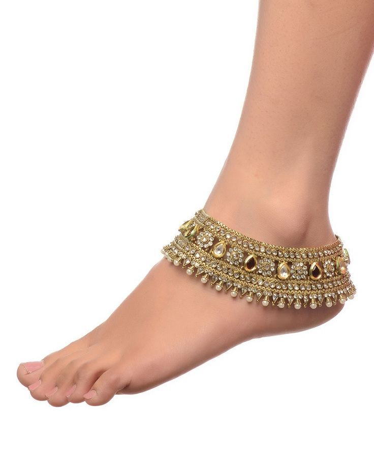 Fashion Jewelry Indian Wedding Bridal Gold Plated Ethnic Rhinestone Pearl Payal Anklets Jewelry