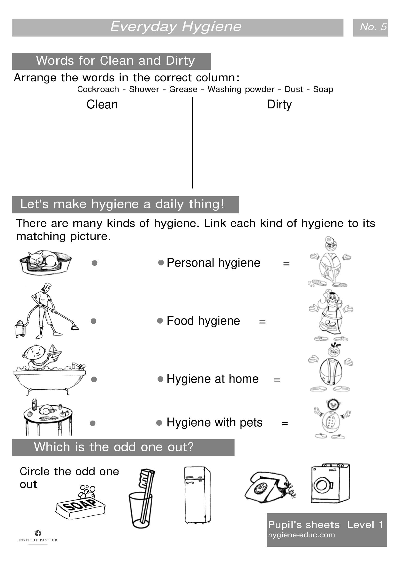 Everyday Hygiene Worksheets Level 1 Worksheets 5 Words For