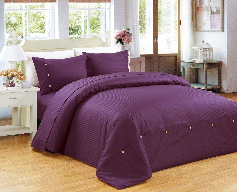 Purple strip comforter
