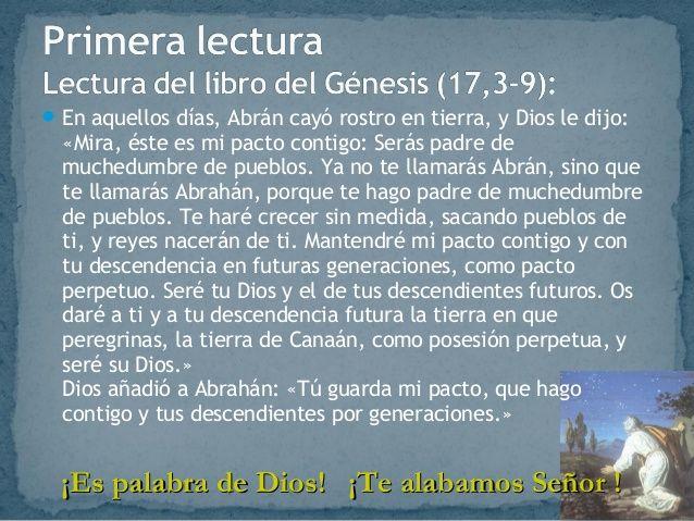 LECTURAS DEL DIA: Lecturas y Liturgia del 26 de Marzo de Génesis (17 ...