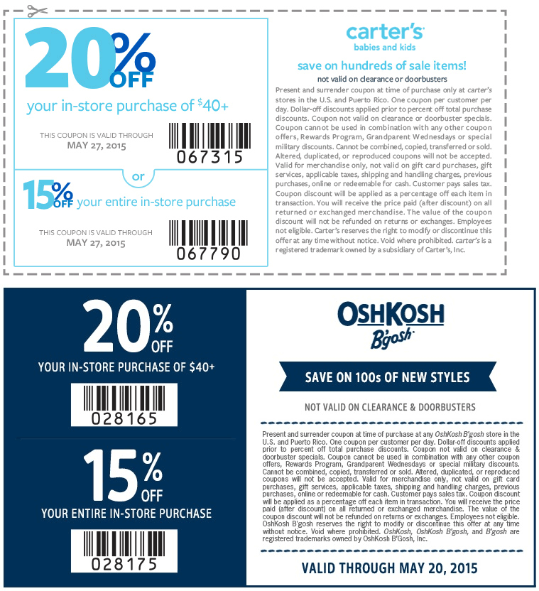 15 20 Off At Carters Oshkosh Bgosh Coupon Apps Money Saver Save The Children