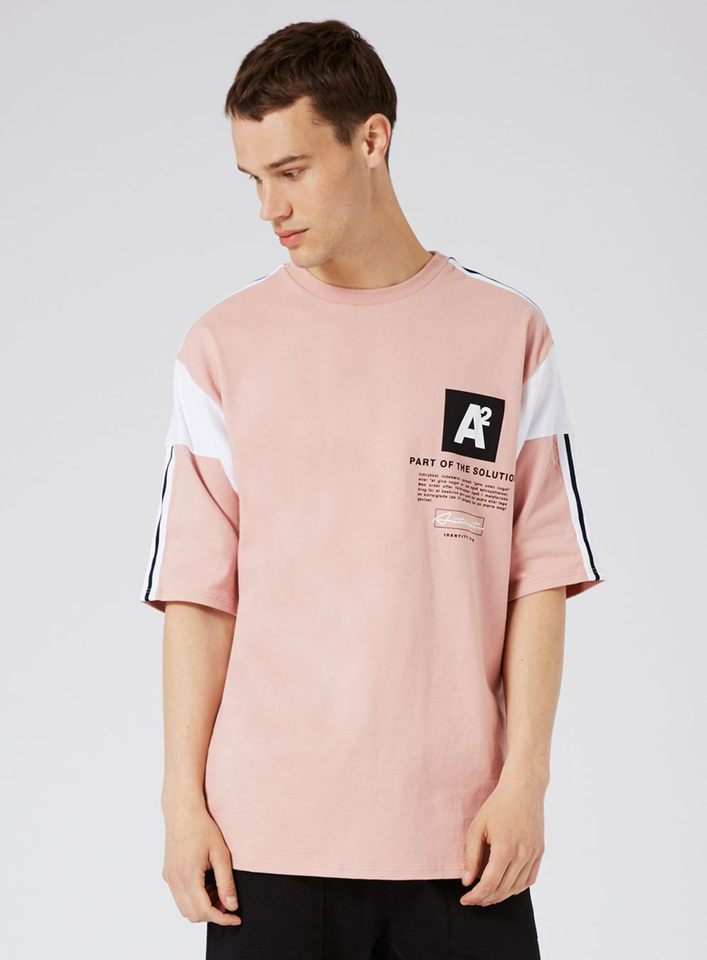 Pink Panelled Oversized T-Shirt | Pink, Tops and Products