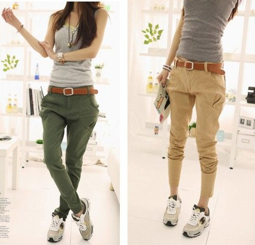 Ladies All Match Casual Cotton Cargo Pants Baggy Trousers With Big ...