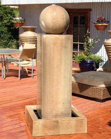 Monolith Outdoor Floor Fountain with Ball MONF-BALL | Garden ...