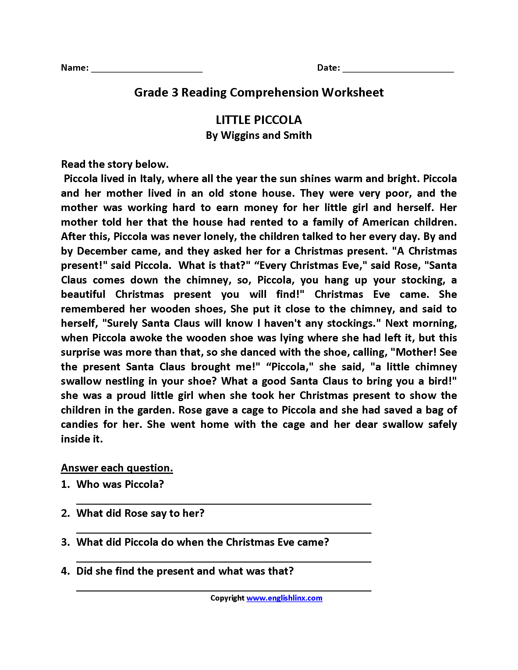 Little Piccola Third Grade Reading Worksheets