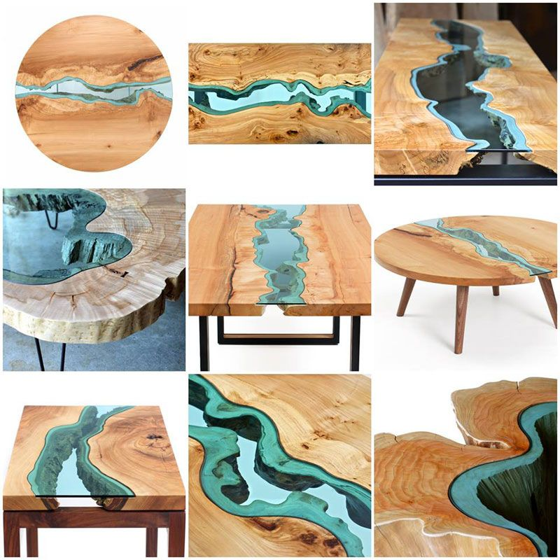 Furniture With Rivers Of Glass Running Through Them Meuble Bois Brut Mobilier De Salon Decoration