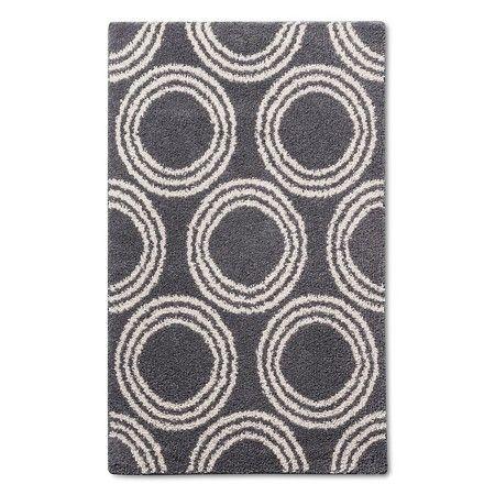 Shag Circles Area Rug - Grey/White - 4\u0027X5\u00276\