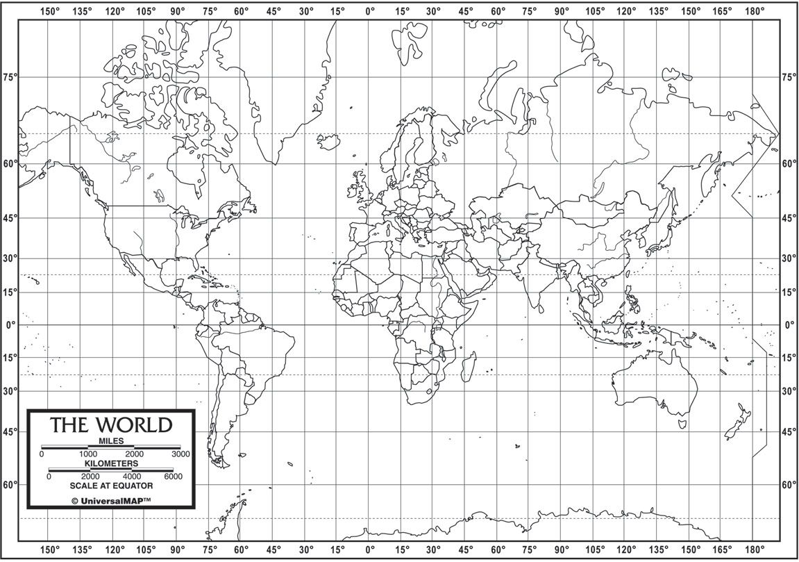 World Map With Longitude