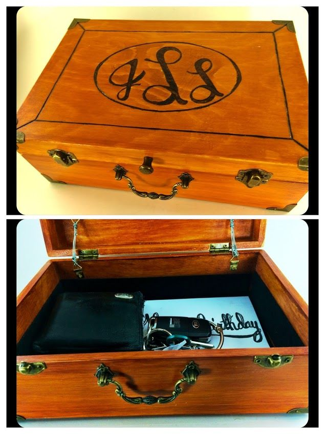 """wood burning ellipse monogram, sanded, stained, sealed, finished wooden box I got at Hobby Lobby, took off all the hardware to sand/seal/etc., then glued a mirror to the inside of the lid and lined the bottom with sticky back felt. the """"hinges"""" that keep the lid from falling completely backwards are photo frame eyelets attached with screws and suspended with thin, malleable wire"""