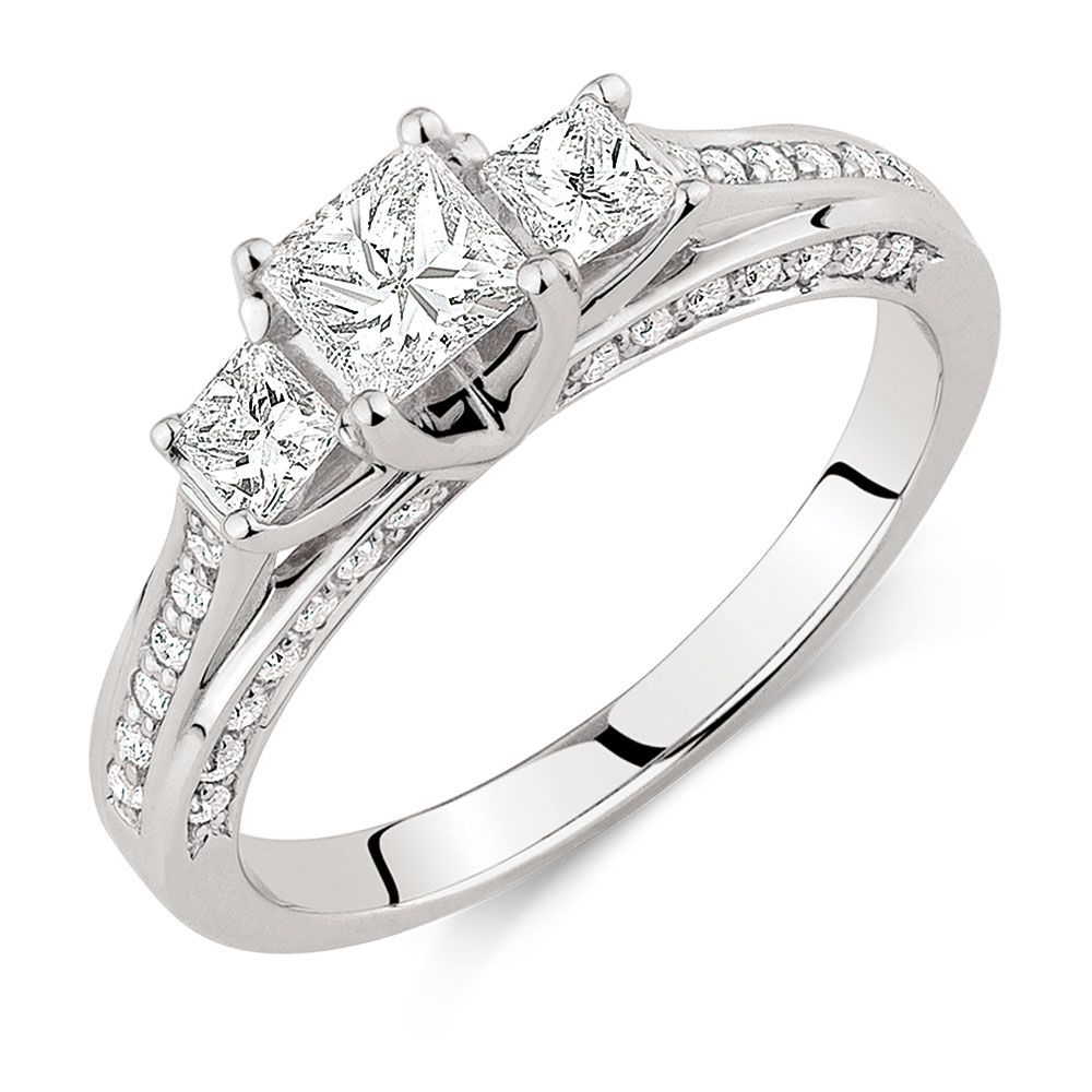 Engagement Ring With 1 Carat Tw Of Diamonds In 18kt White Gold! Sku  11423522