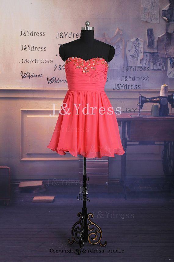 Sweetheart Mini Chiffon Prom Dress, Party Dress, Homecoming Dress on Etsy, $89.00