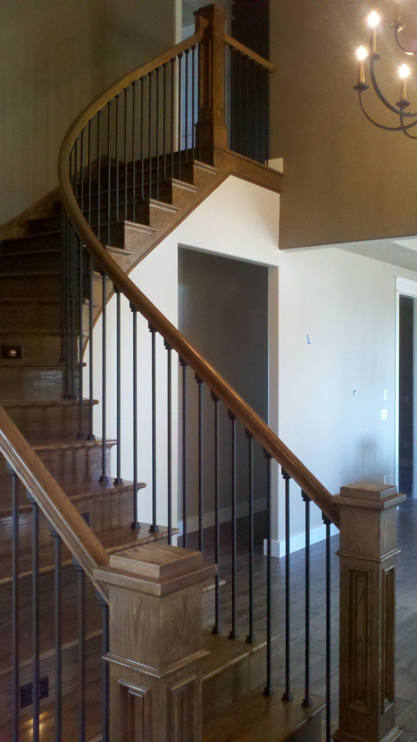 Best A Very Nice Curved Rail With Wood Floor Stairs Lights In 640 x 480