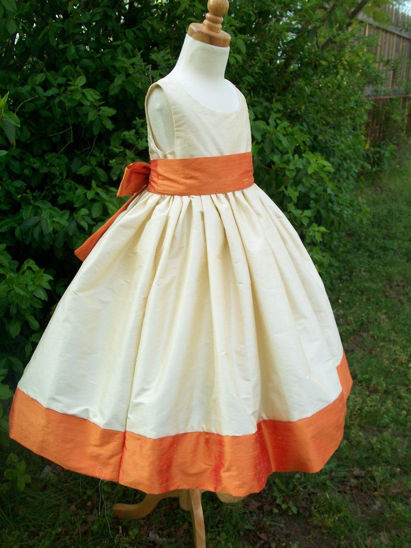 Dress For Jj Tangerine And Ivory Silk Flower Girl Dresses Size 7 8
