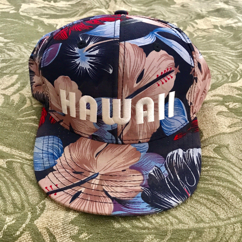 c7e0e45dfbe HAWAII Graphic Hat Floral Aloha Hawaiian Baseball cap Hawaiian Headwear  Snapback Trucker Hat One Size Fits Most Blue Hibiscus by shophonuavintage  on Etsy