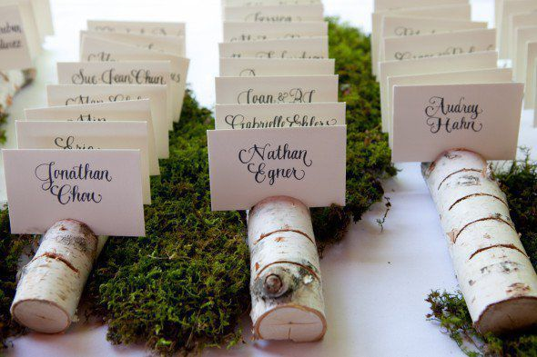 Rustic Wedding Seating Chart Ideas Chic Birch Log Place Card Holder