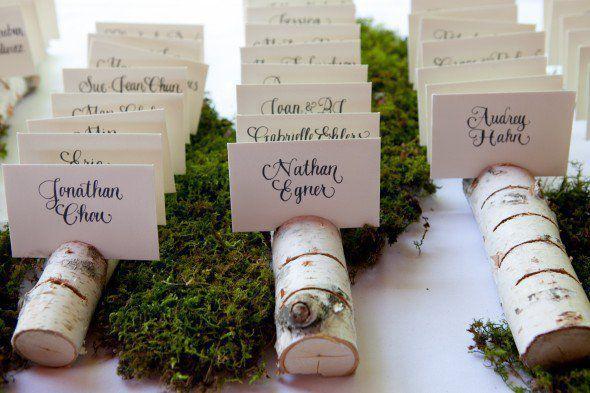 Rustic wedding seating chart ideas chic birch log place card holder also rh pinterest