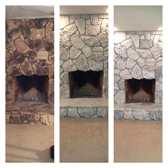 Transforming 70 S Rock Spray Rock With Valspar Weathered Fossil Then Hand Paint So Painted Rock Fireplaces Stone Fireplace Makeover Whitewash Stone Fireplace
