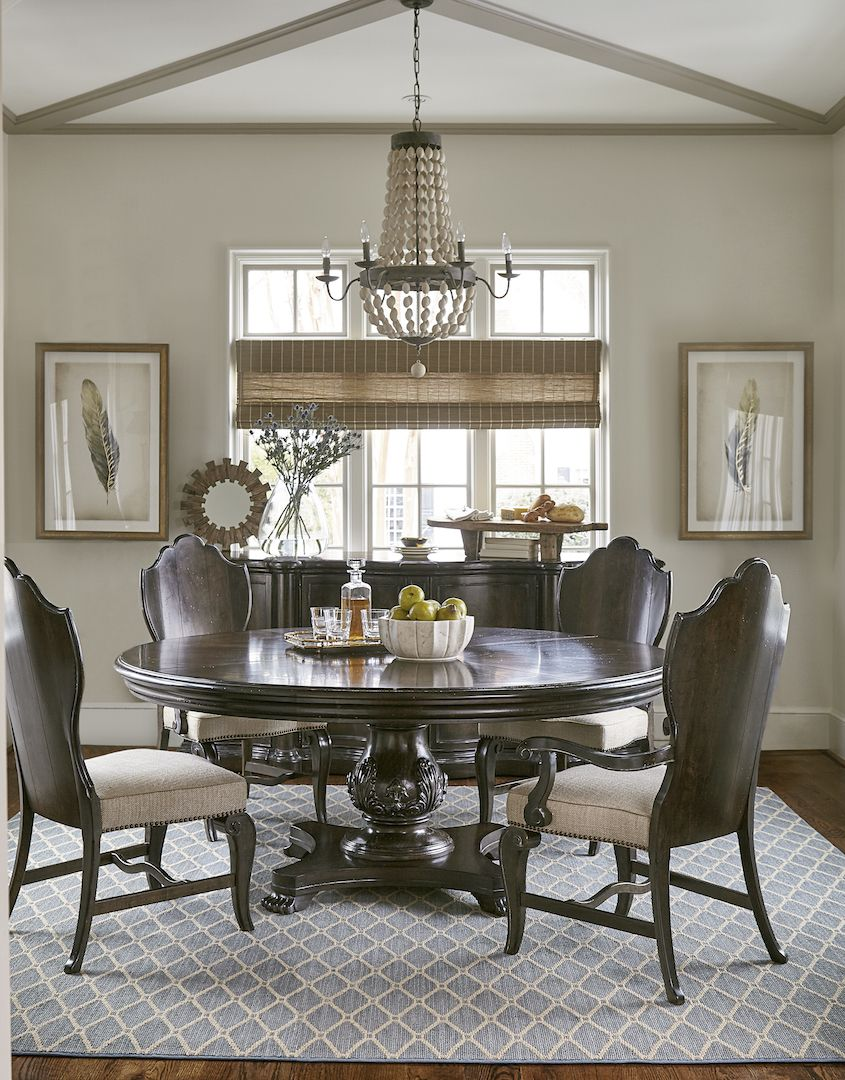 Continental Round Dining Table With Wood Back Side Chair And Arm By ART Furniture