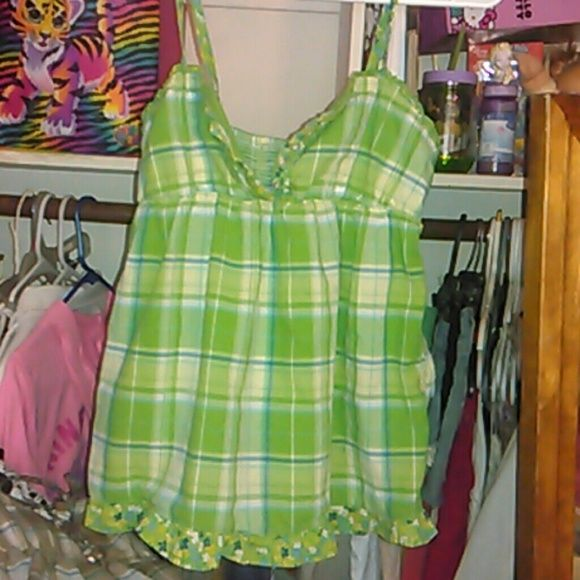 Green checkered tank top with ruffles This is exactly identical to the brown one I have it gathers in the back and they are absolutely adorable SO Tops Tank Tops