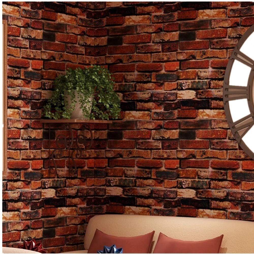 Red Brick Wallpaper 3d Roll Retro Stone Brick Wall