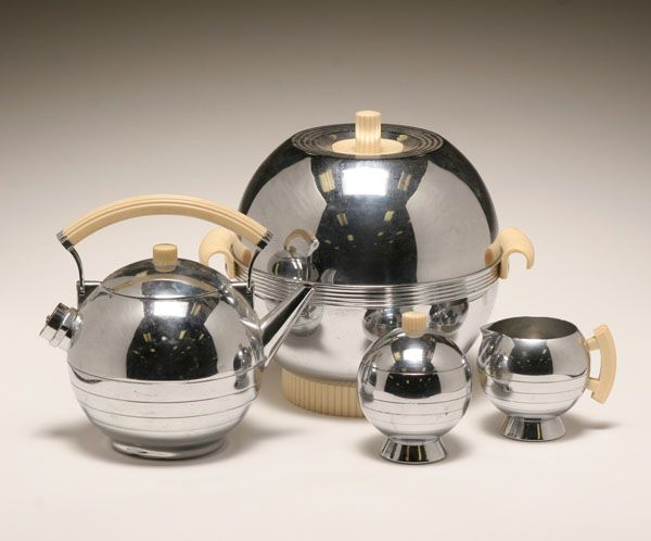 Chase chrome electric warmer and coffee pot with cream and sugar;