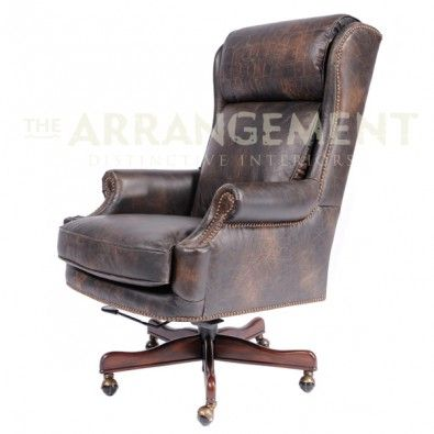distressed leather desk chair hanging ebay uk vaquero gives this office a worn look without sacrificing quality old saddle fudge with crocodile accents