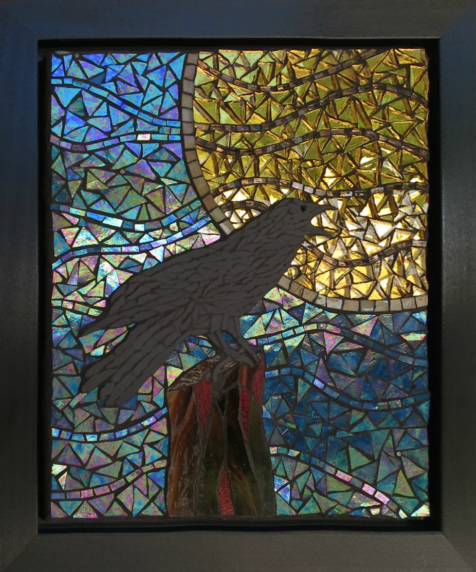 Heat Wave, crow, moon, sky, mosaic, glass, tree stump