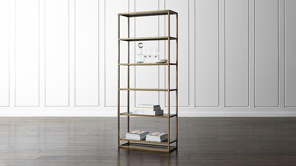 five shelf one drawer brushed brass bunching bookshelf glass shelves bookcase htm metal bookmark