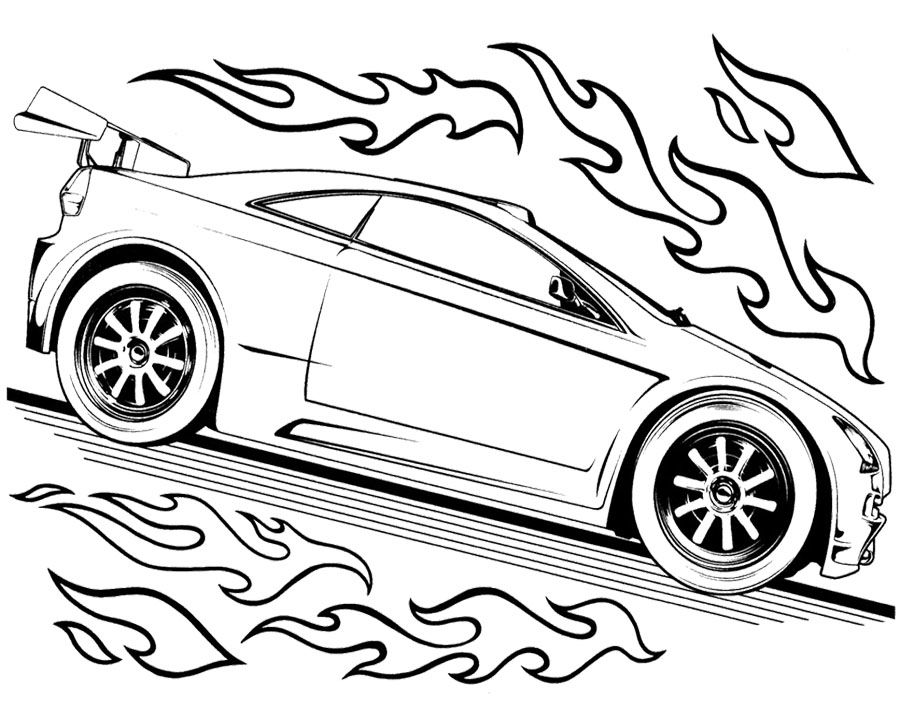 Hot Wheels : Track Race Two Car Hot Wheels Coloring Page