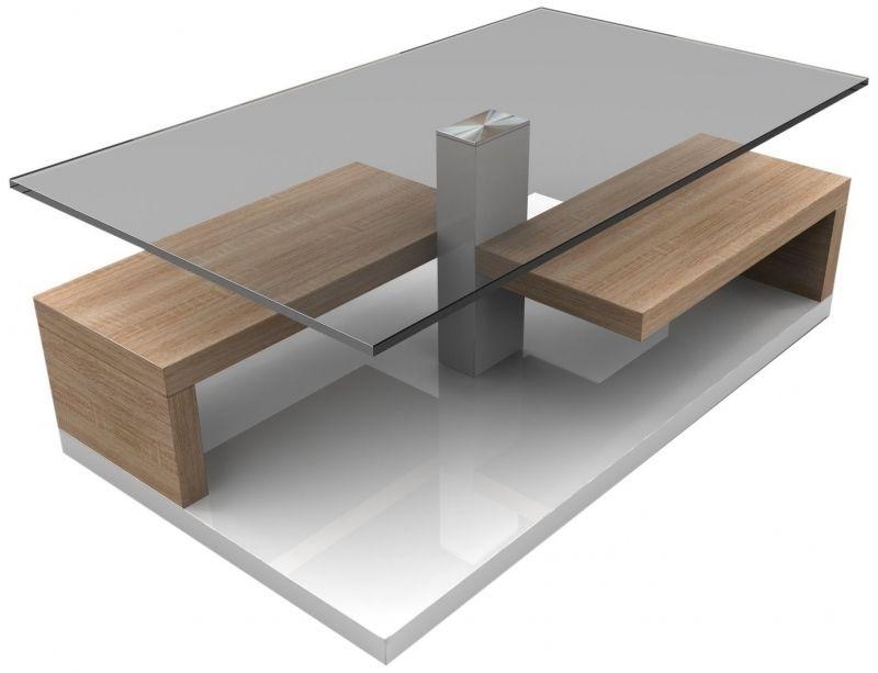 Table Basse Design Blanche Laquee Et Bois Chene Claire Avec En Le Awesome Avec Belle Table