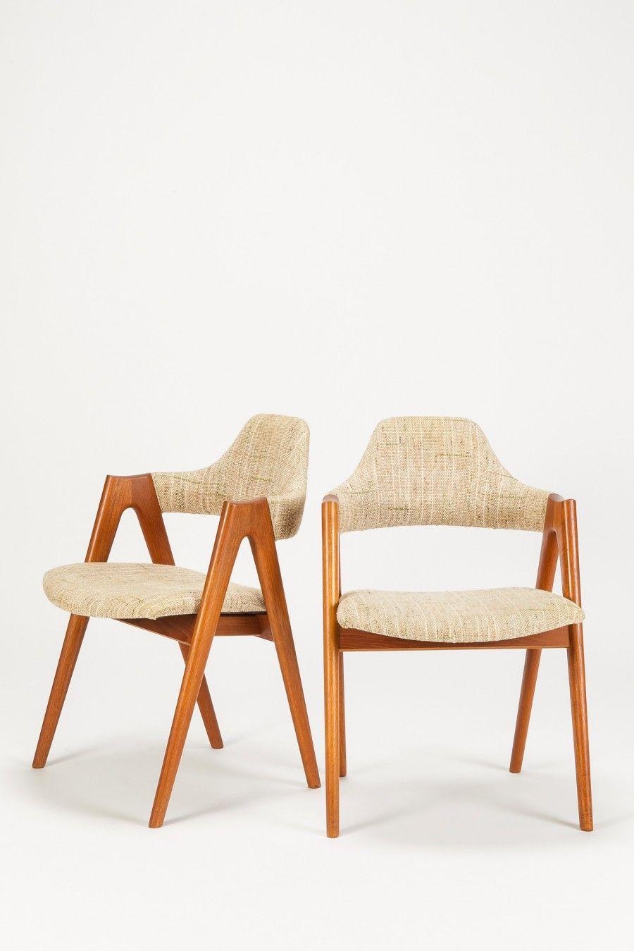 Kai Kristiansen Teak Compass Chairs For Sva Mobler 1960s