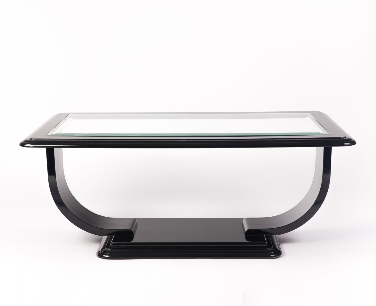 Art deco style square glass top coffee table 1940s art