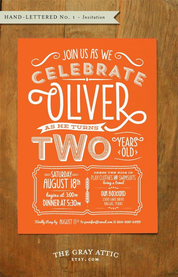 Lettering Invitation - A7 size (Hand-Lettered No. 1) - Birthday - Hand lettered invite