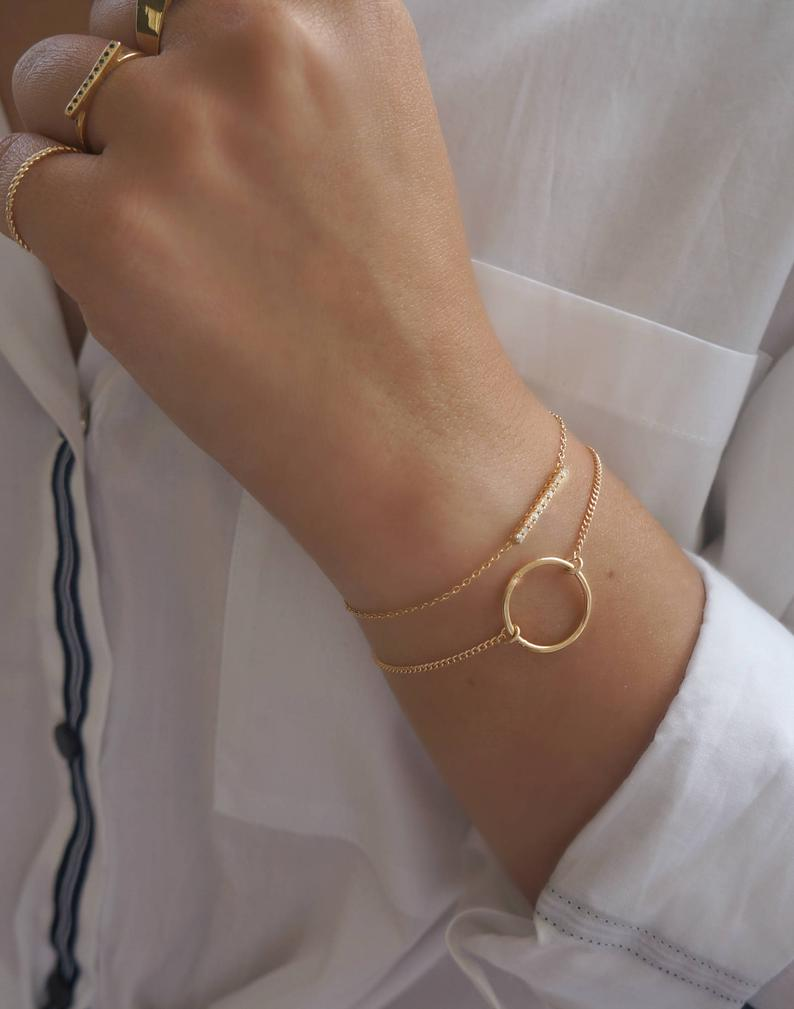 Photo of Karma Bracelet, Gold Karma Bracelet, Circle Bracelet, Gold Filled Bracelet, Everyday Gold Bracelet, Silver Bracelet, Layering Ring Bracelet.