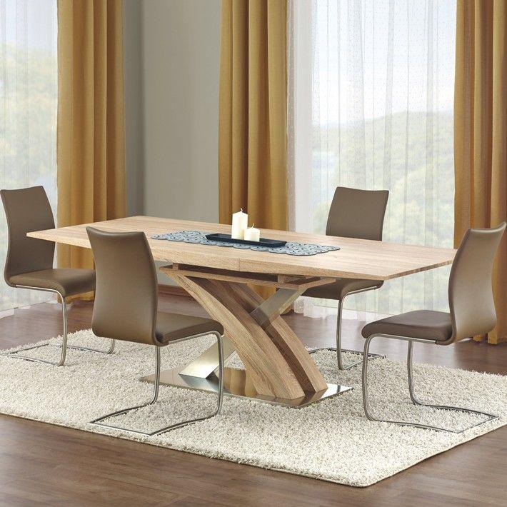 Une Table A Manger Design Alliant Bois Et Metal Pour Renforcer Le Caractere Mo Table A Manger Design Table A Manger En Chene Table De Salle A Manger Extensible