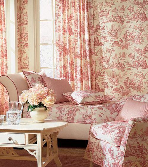Pink Toile #toile #englishdesign #frenchdesign #traditionalhome #patterns #ToiledeJouy #toiles