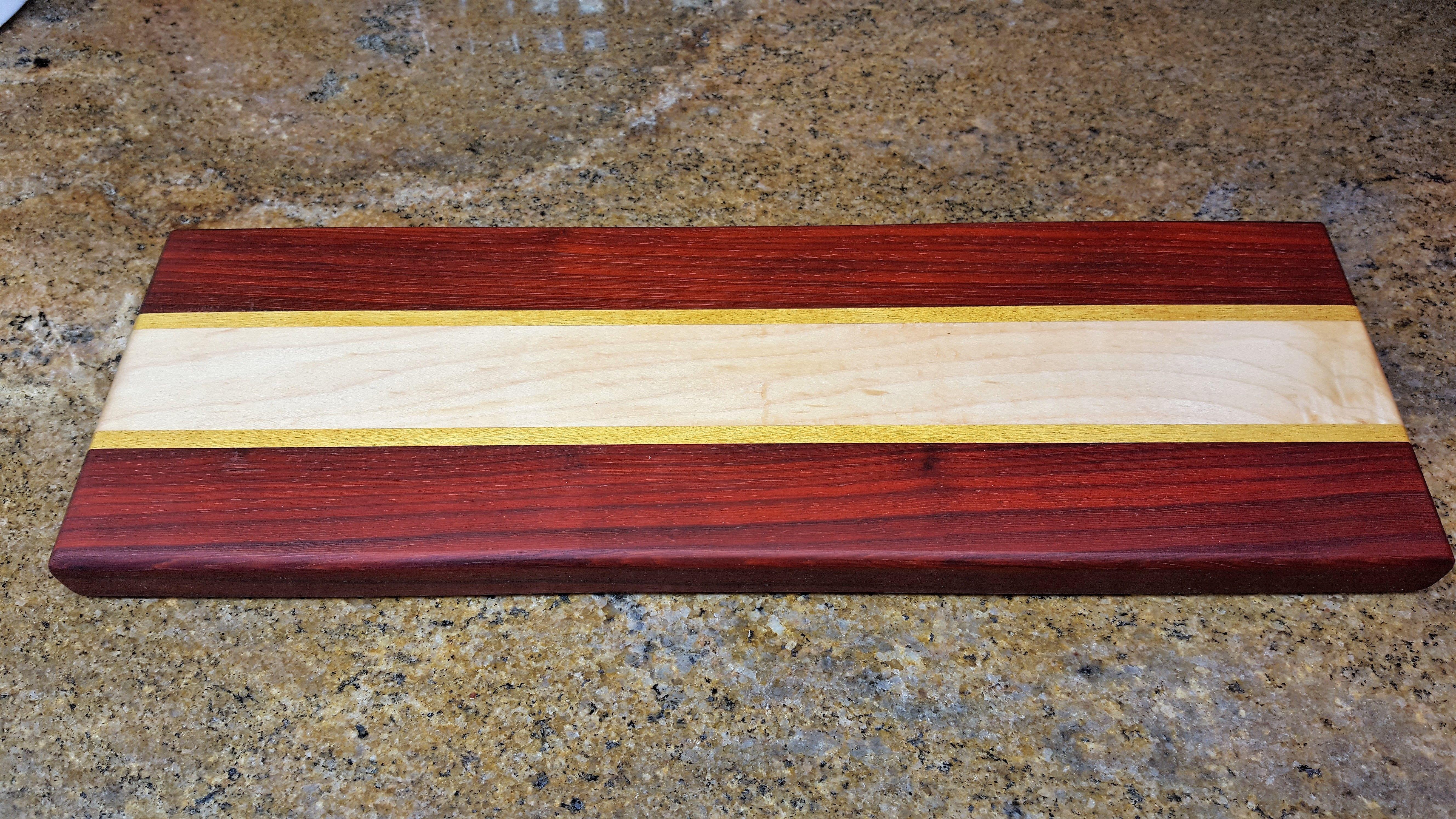 cutting board, maple, yellow heart and padauk. | john's diy