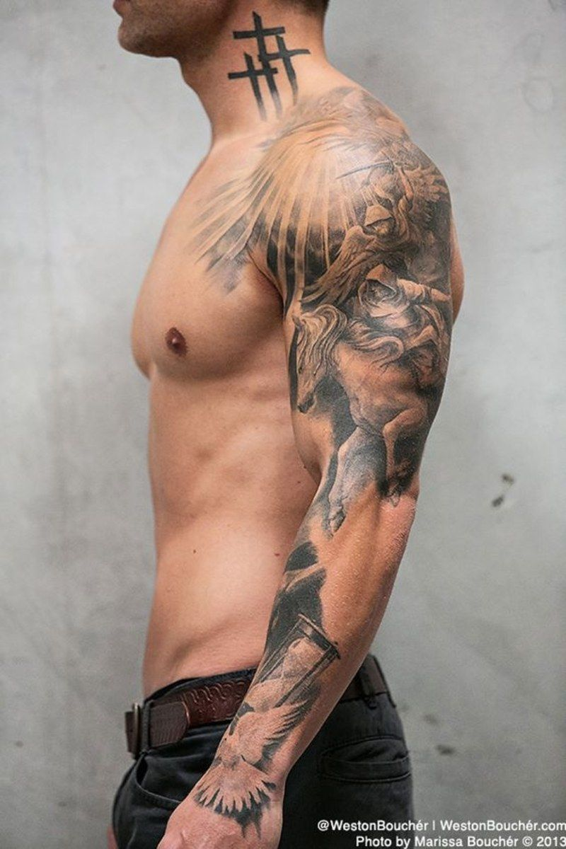 Guys Are Really Into Nautical Tattoos Right Now Angel Sleeve Tattoo Best Sleeve Tattoos Sleeve Tattoos