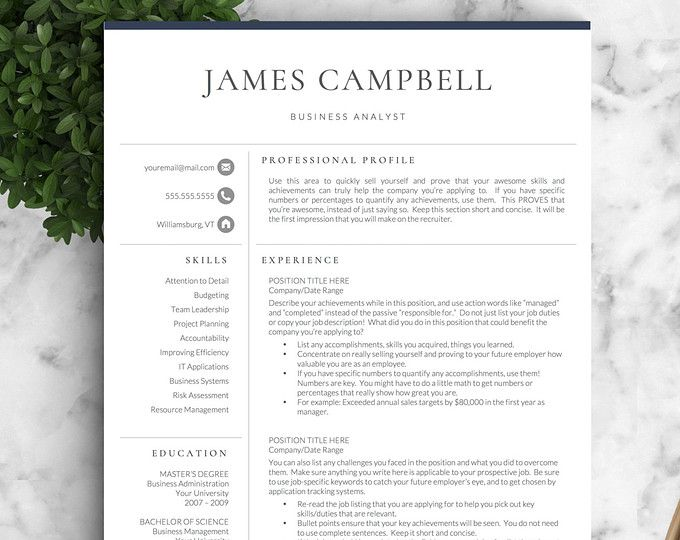Resume three pages