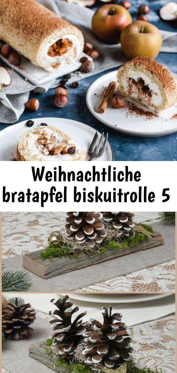 Weihnachtliche bratapfel biskuitrolle 5 #weihnachtlichetischdekoration