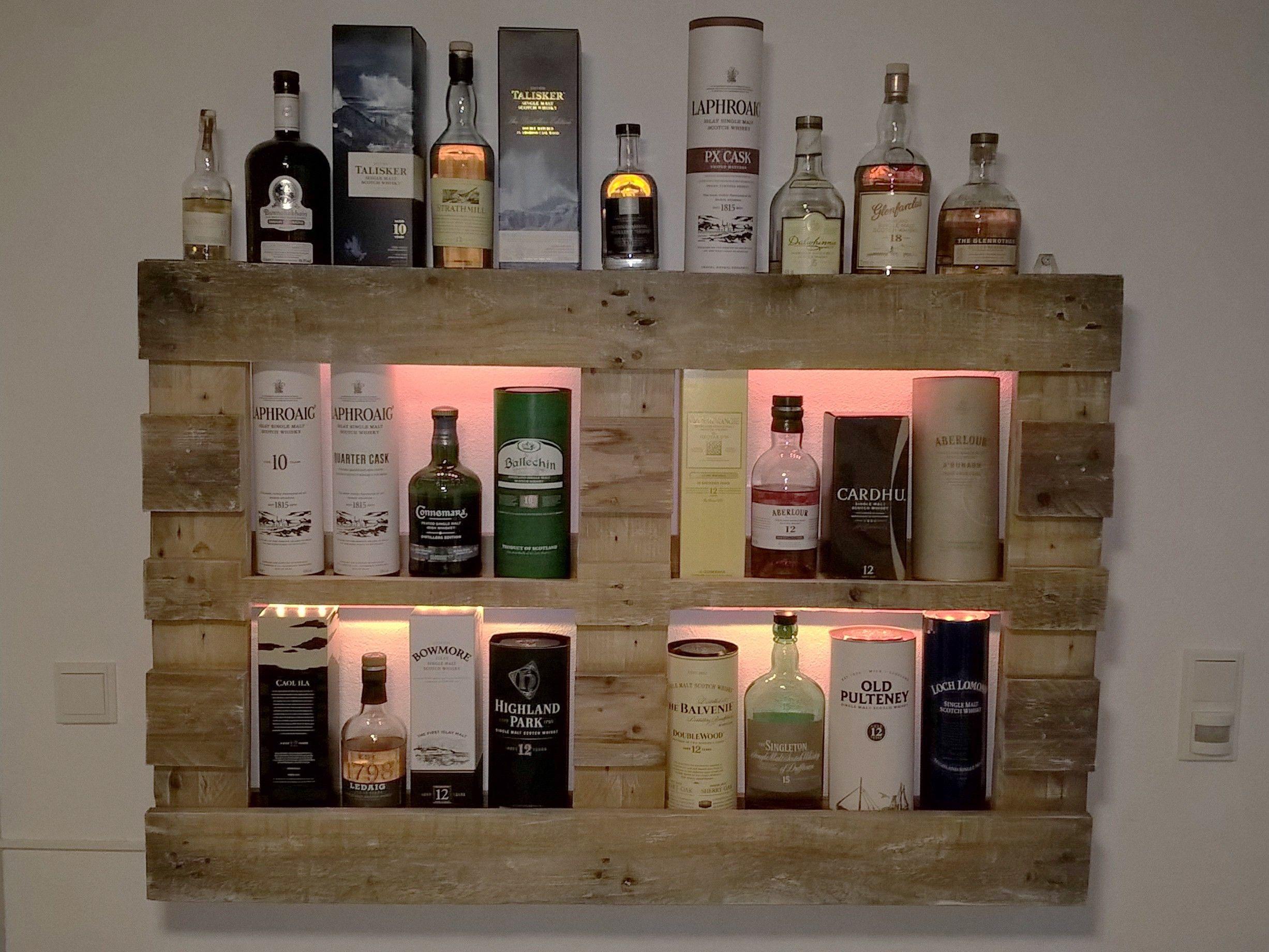 Whiskyregal, Whisky, Wandregal, Palettenmöbel | Palettenmöbel ...