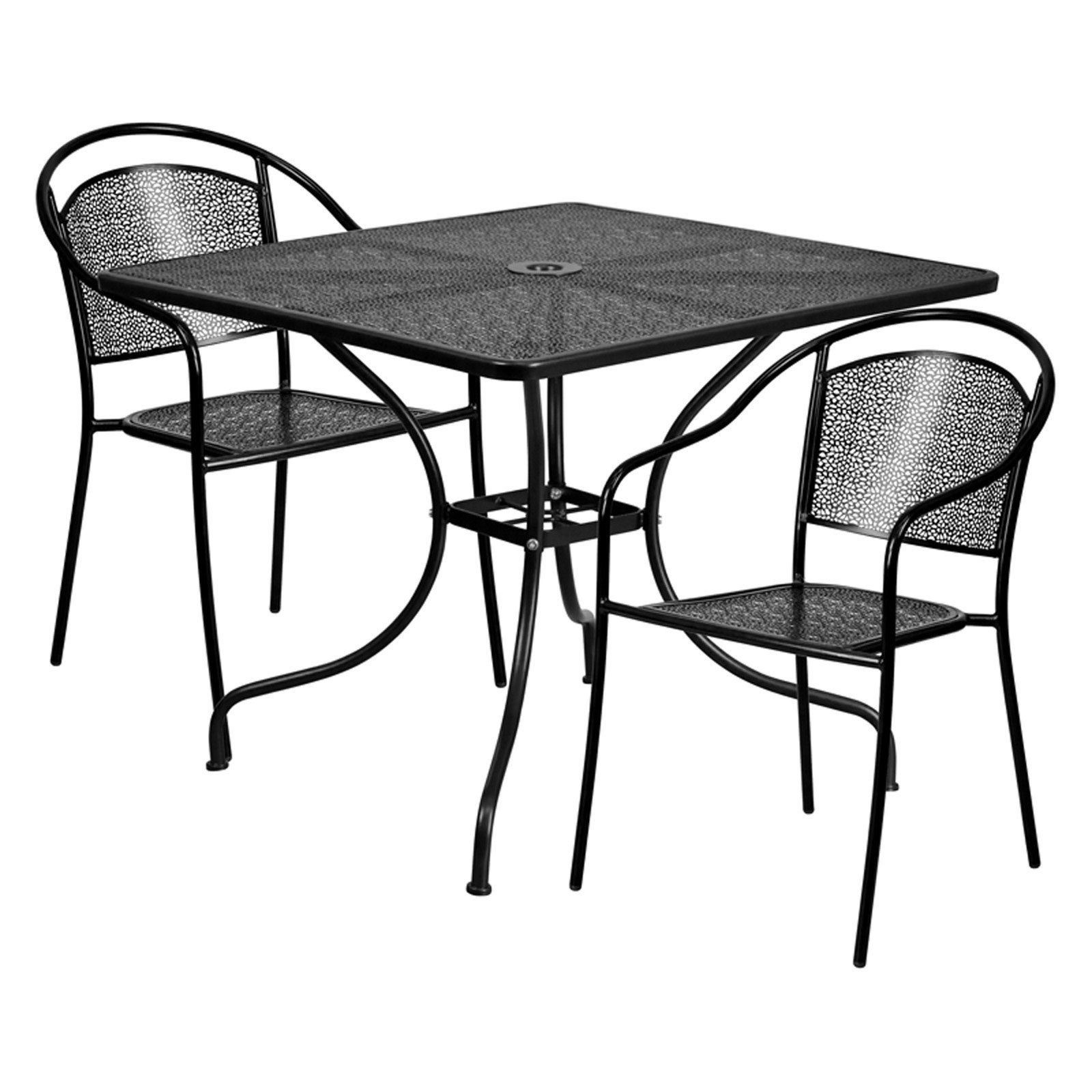 Outdoor Flash Furniture Steel Square Patio Bistro Set With 2 Round