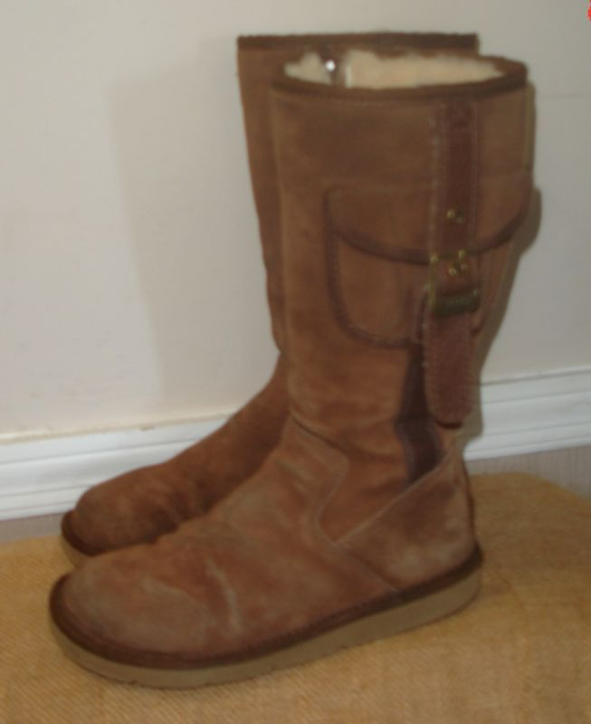 ebd7c957004 UGGs Tall Distressed Brown Cargo Boots Women Size 6 S/N # 5195 ...